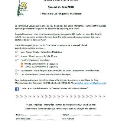 Tennis Club des Jonquilles de Marbehan : initiation et stage