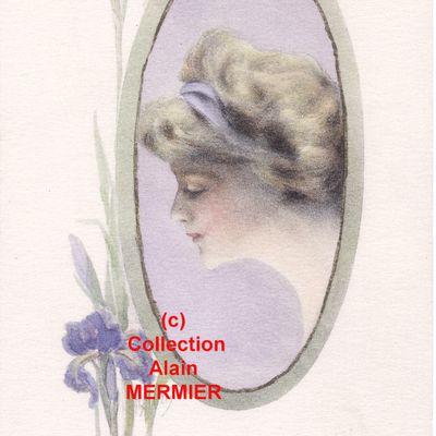IRIS - 1698 - Illustrateur WEISS. Femme dans un miroir (ou médaillon) regardant un iris.