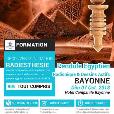 """BAYONNE Formation radiesthésie : 'Pendule égyptien, dessins actifs"""" Dim 07 Oct 2018"""