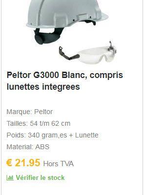 Spécialiste EPI français de la protection de la tête: COOLSAFETY - le 3M Peltor G3000 Blanc compris lunettes integrees