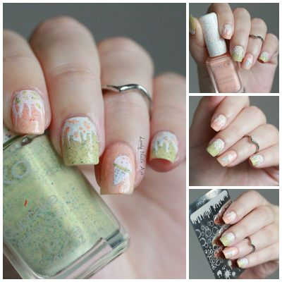 Nail art stamping ice cream