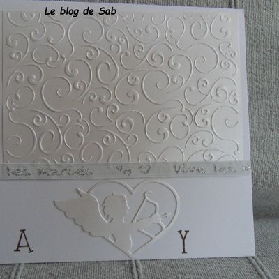 Carte mariage simple, blanche