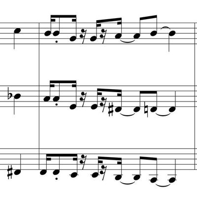"""Secret love""...6 different versions of the first 4 measures"
