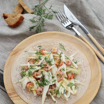 Salade d'endives aux crevettes grises avec les Nouveaux Producteurs