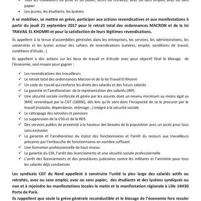 APPEL DES SYNDICATS CGT DU NORD RÉUNIS EN COMITÉ GÉNÉRAL
