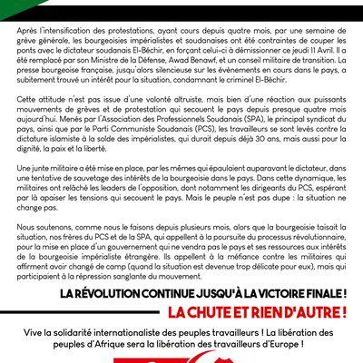 Solidarité avec la révolution au Soudan : Déclaration commune