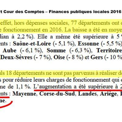 Les finances départementales, vues par la Cour des Comptes