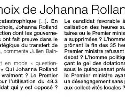 La droite épingle le choix de Johanna Rolland