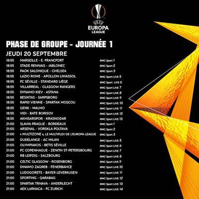 """A l'occasion du début de l'Europa League, RMC Sport lance ce soir """"RMC Europa"""" (programme des matchs)"""