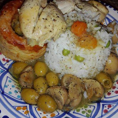Vols au vent sauce blanche au poulet et riz