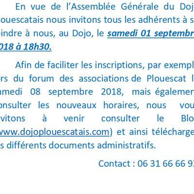 Assemblée générale le 01 septembre 2018
