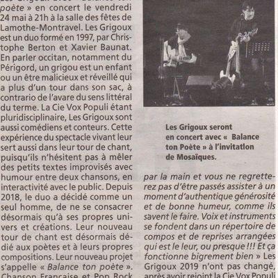 """Vu dans la Presse : Les Grigoux """"Balance ton Poète"""" à Lamothe-Montravel le 24 Mai !"""