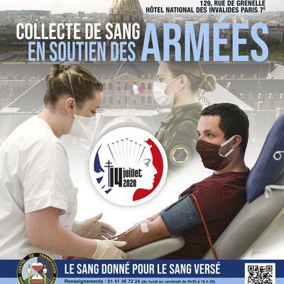Collecte de sang du 14 juillet aux Invalides.