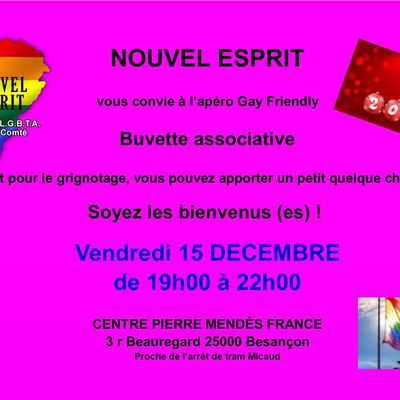 Apéro Gay-Friendly Vendredi 15 DECEMBRE