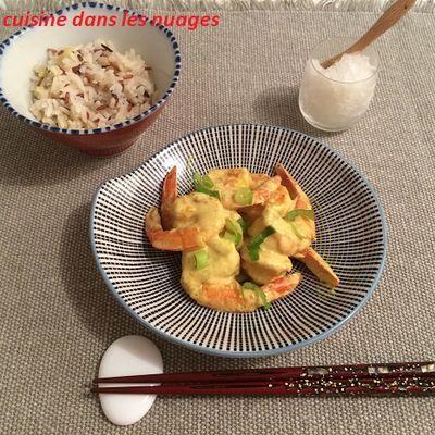 Crevettes au Kari Gosse et granité de saké