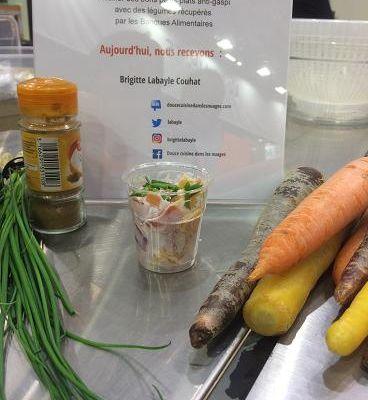 Tagliatelles de carottes multicolores et croquettes de panais-carottes pour la Banque Alimentaire