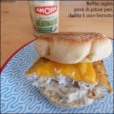 Muffins anglais garni de poisson pané, cheddar & sauce béarnaise