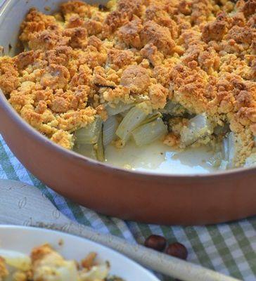 Côtes de blettes en crumble de noisettes et parmesan