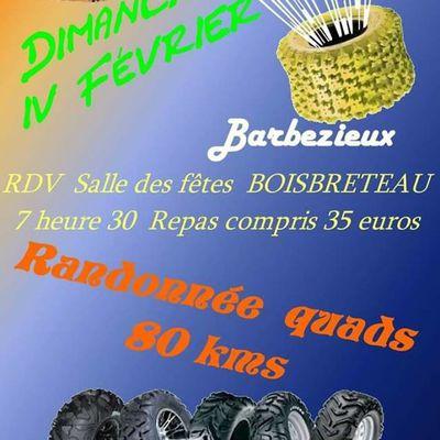 Rando quads de l'association des 4 B à Barbezieux (16), le 4 février 2018