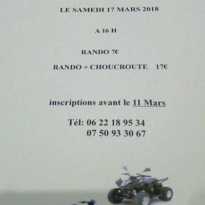 Rando quads à Vaux-Lavalette le samedi 17 mars 2018