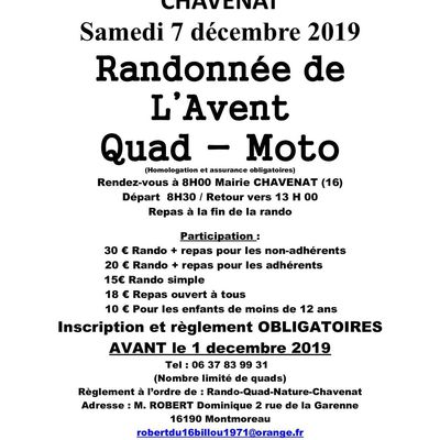 Rando Quad-moto de l'Avent de l'association Quad Nature Chavenat (16), le 7 décembre 2019