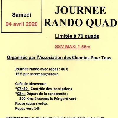 Rando Quad de l'Association des Chemins pour tous le 4 avril 2020 à Javerlhac (24)