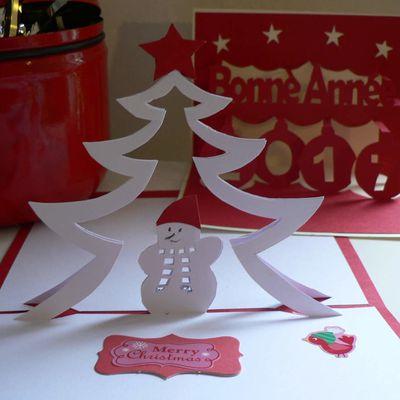 Patron gratuit kirigami sapin de Noël et bonhomme de neige 180°