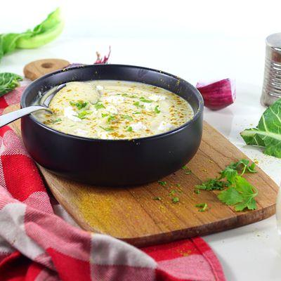 Velouté de Chou-Fleur, Chèvre Frais et Curry