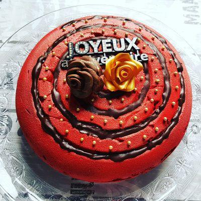 Gâteau entremet chocolat, insert namelaka chocolat blanc  la vanille