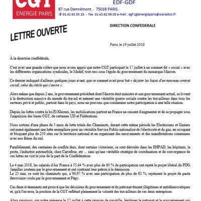 LETTRE OUVERTE de la CGT ÉNERGIE PARIS à la Direction confédérale