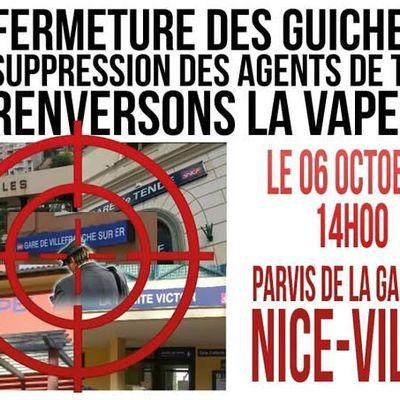 FERMETURE des gares : RASSEMBLEMENT à NICE le 6 OCTOBRE !