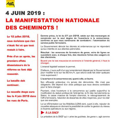 MANIFESTATION NATIONALE des CHEMINOTS le 4 JUIN