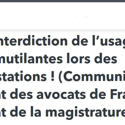 Pour l'interdiction de l'usage des armes mutilantes !