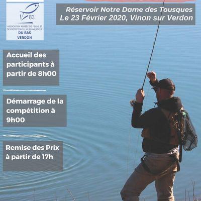Compétition Promotion Nationale de Pêche à la Mouche à la Gravière Notre Dame des Tousques à Vinon sur Verdon le dimanche 23 février 2020