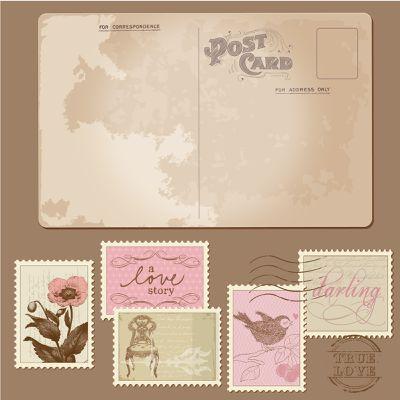 Télécharger des Vecteurs gratuitement en EPS vintage des cartes postales et timbres thème Saint Valentin Amour et Mariage Invitations