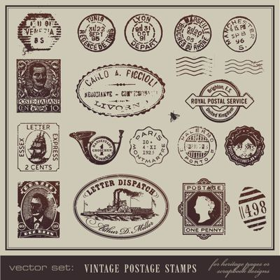 Vector set : Vintage postcards and postage stamps as EPS download
