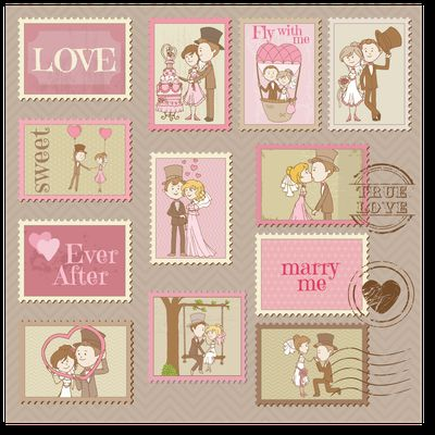Love and wedding stamps - Amour et Marriage en timbres en téléchargement en EPS
