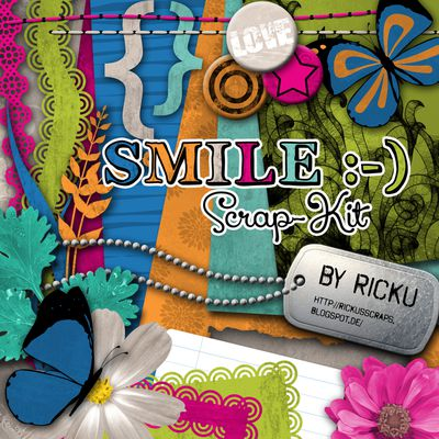Kit de scrapbooking Smile - I love you - en téléchargment - textures et embellissements