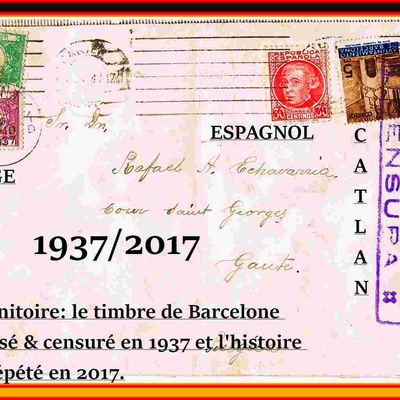 BARCELONE-MADRID-BRUXELLES  1937 (les timbres parlent).