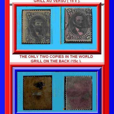 Les deux seuls timbres oblitérés de 15 centimes avec des GRILL F. au verso.