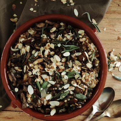 Risotto de céréales aux champignons et à la sauge