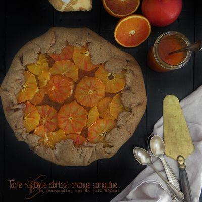 Tarte rustique orange sanguine-abricot-spéculoos