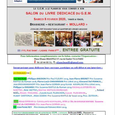 LE SAMEDI 8 FEVRIER à la BRASSERIE MOLLARD de 14 à 18 h 30