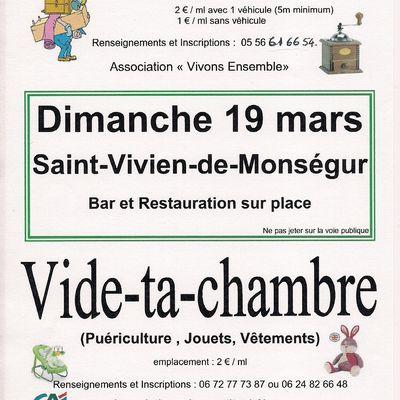 VIDE-GRENIERS DIMANCHE 19 MARS SAINT-VIVIEN-DE-MONSEGUR