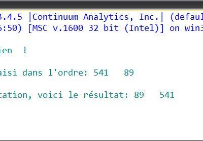 #TutorielPython3 : Initiation à la programmation #7 : Atelier #2 - Permuter deux nombres - Le script