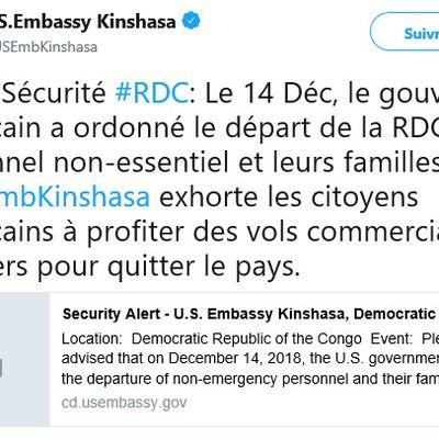 RDC : L'ambassade US à Kinshasa enjoint les Américains à quitter le pays dans les meilleurs délais