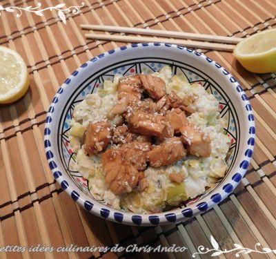 Porridge de poireau crémeux aux dés de saumon
