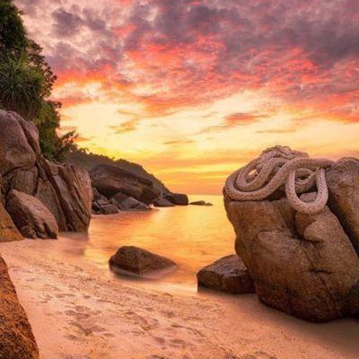 Thaïlande - Plage - Ciel orangé - Photographie - Wallpaper - Free