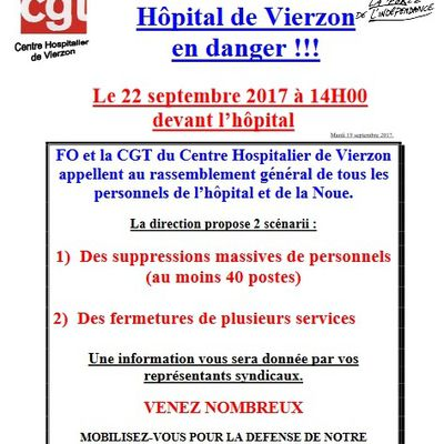 Hôpital de Vierzon  : suppression massive de postes ou fermeture de services ?