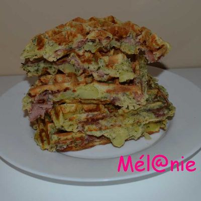 gaufres au bacon, comté et pomme de terre